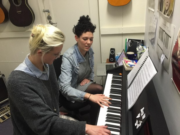 Alanna & Teacher Phoebe at the piano